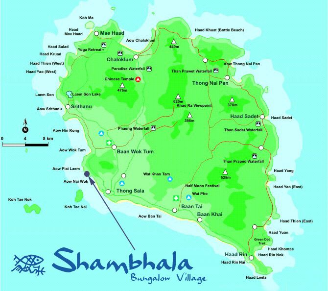 Location Shambhala Bungalow Village Koh Phangan Thailand